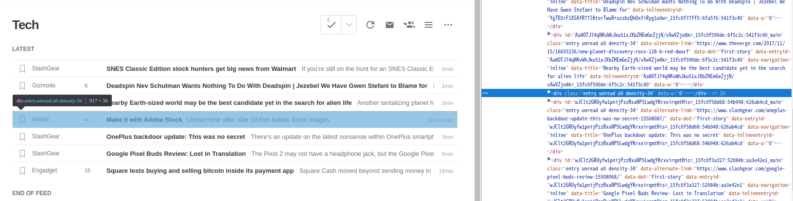 Hide Feedly Sponsored Content in Chrome – dragongears com